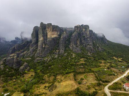 Aerial view of the Kalambaka town and the Meteora rock phenomenon. Stock Photo