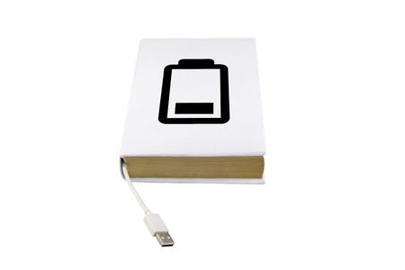ibook: Book with battery icon and male USB connector isolated on white background. Stock Photo