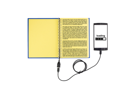 Notepad connected to a smartphone through an USB cable. Optical character recognition loading bar.