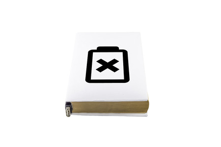 ibook: Book with a white cover and battery symbol on it. Battery dependence concept. Stock Photo