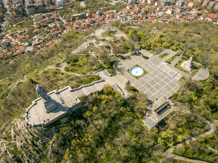 equirectangular: Aerial view of the Unknown soldier monument also known as Alyosha in Plovdiv, Bulgaria