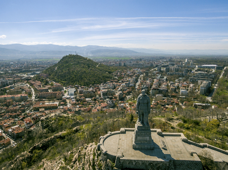 Aerial view of the Unknown soldier monument also known as Alyosha in Plovdiv, Bulgaria