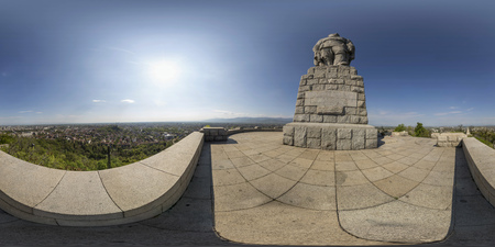 380 by 180 degrees spherical panorama at the top of Bunardzhika hill in Plovdiv, Bulgaria - where the monument called Alyosha is located. Фото со стока