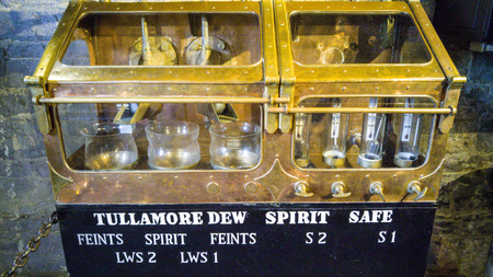 famous industries: TULLAMORE, IRELAND - MARCH 18, 2017 - Tullamore Dew storehouse brewery in Tullamore, Ireland. Showcasing different stages of distilling the Tullamore Dew whiskey and tasting it.