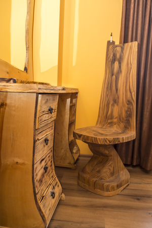 Furniture design made out of burned or scorched wood
