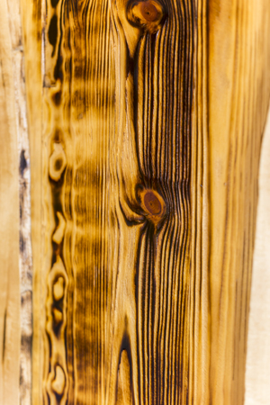 Scorched wood color and texture closeup Stock Photo