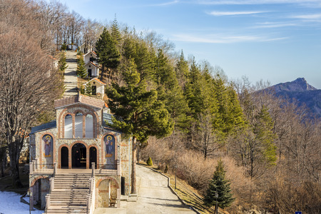 Cross Forest also known as Krastova gora - Christian complex of several chapels, church and monastery located in the Rhodope mountains, Bulgaria 스톡 콘텐츠