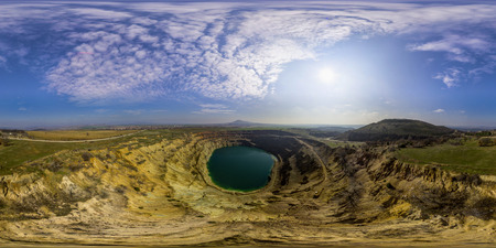 Aerial 380 by 180 degrees spherical panorama of a abandoned mining pit near Tsar Asen village, Bulgaria