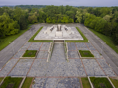 Aerial view of an urban symmetrical architecture. Concrete tiles and structure.