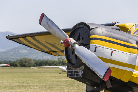 Close up of the props and cooling system on a lightweight airplane