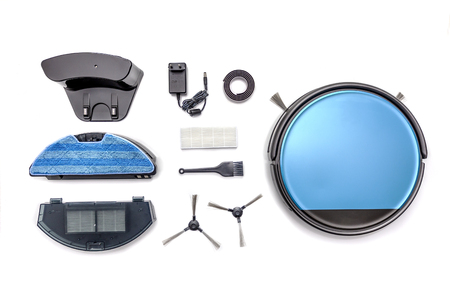 Robot vacuum cleaner parts and attachments isolated on white background Stock Photo