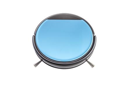 Blue robot vacuum cleaner isolated on white background. Stock Photo