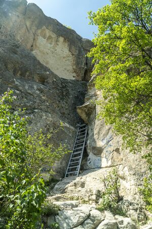 The entrance to the womb cave alos known as Utroba cave near Kardzhali city in Rhodope mountain in Bulgaria