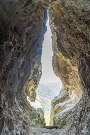 The womb cave alos known as Utroba cave near Kardzhali city in Rhodope mountain in Bulgaria Banco de Imagens