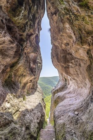 The womb cave also known as Utroba cave near Kardzhali city in Rhodope mountain in Bulgaria