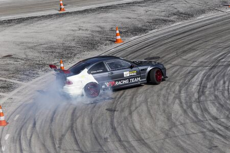 PLOVDIV, BULGARIA - JUNE 08, 2019 - Aerial view of drift car racing and time attack competition in Plovdiv city in Bulgaria