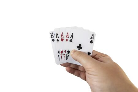 POV view of a man holding playing cards in his hands isolated on white background. Gambling concept.