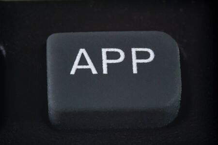 Extreme macro of application button on a TV remote control