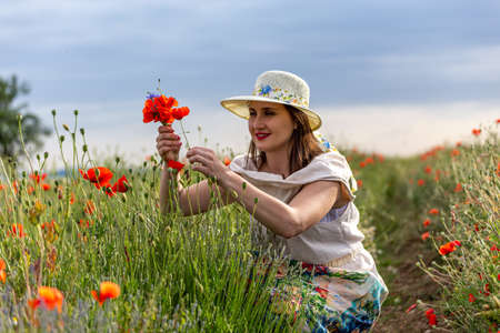 Young girl dressed in a white dress and a hat walking around a red poppy field Reklamní fotografie