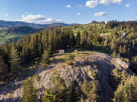 Aerial view during sunset of St. Peter and Paul chapel near Momchilovtsi village in Bulgaria