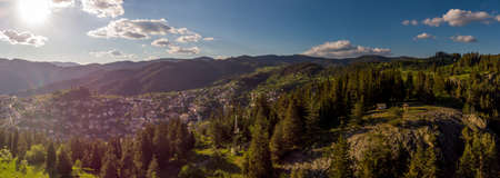 Aerial panorama view during sunset of St. Peter and Paul chapel near Momchilovtsi village in Bulgaria Stock Photo