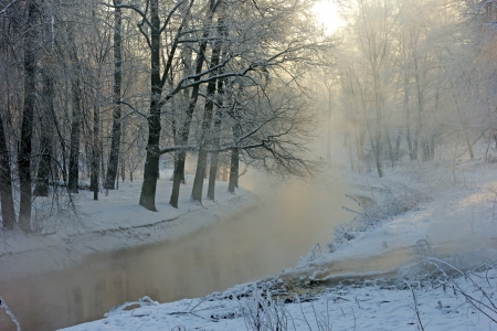 winter mist over a small river photo