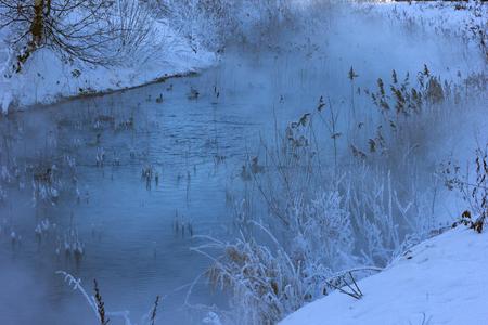 snow winter pond and ducks photo