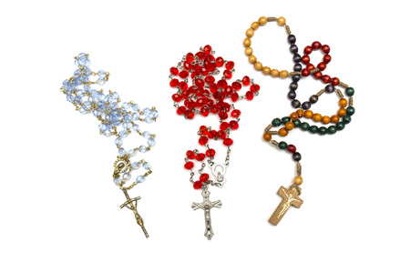 rosary: blue and red wooden rosary Stock Photo