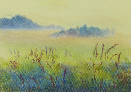 lea: field and trees painted in pastel Stock Photo