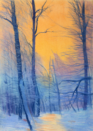 snow trees and sunset painting photo