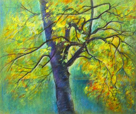 yellowed: Autumn tree and foliage yellowed