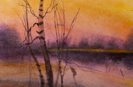 birch and lake painted in watercolor photo
