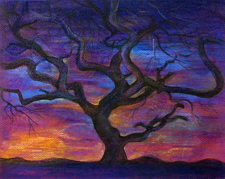tree at sunset painted pastel Stock Photo