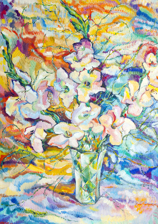 bouquet of flowers painted in oil on canvas photo
