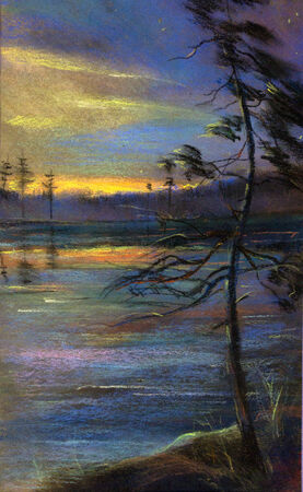 painting pastel sunset and twilight photo