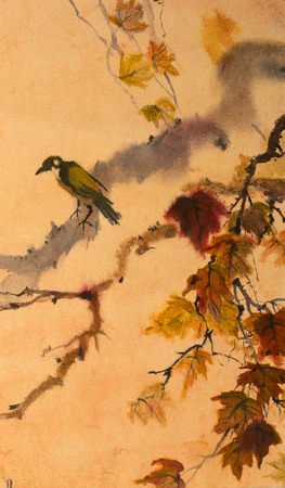 bird on a tree painted in watercolor Stock Photo