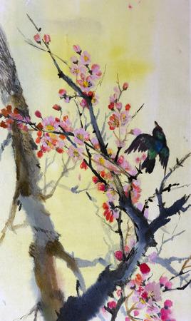 梅彩色水彩画の枝に鳥