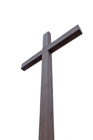 easter cross: a large wooden cross on a white background