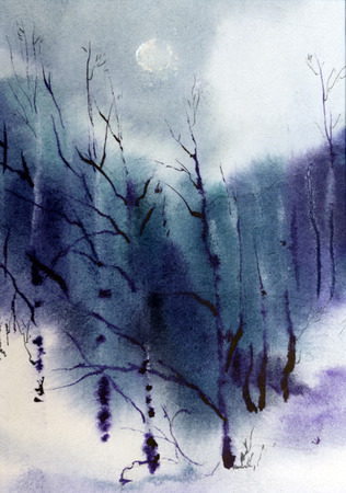 pastel colors: lilac forest painted in watercolor Stock Photo