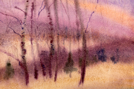 purple birch wood painted in watercolor photo