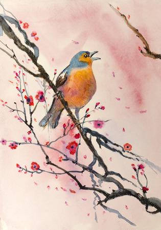vogel op een tak van pruim Stockfoto