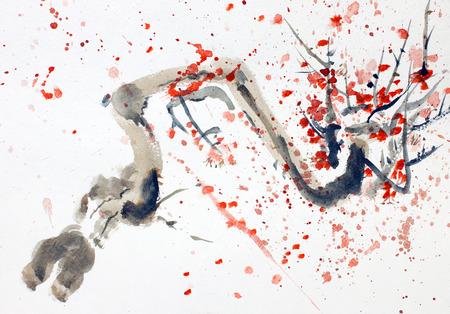 떨어지는 꽃잎으로 벚꽃 가지