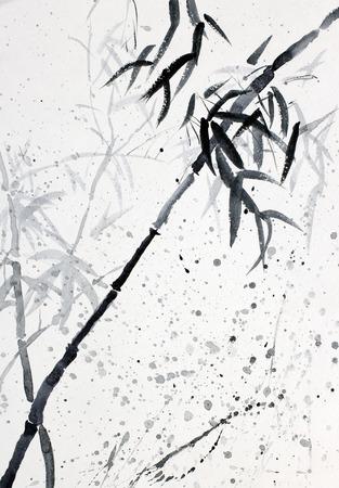 雨の中で竹の枝 写真素材