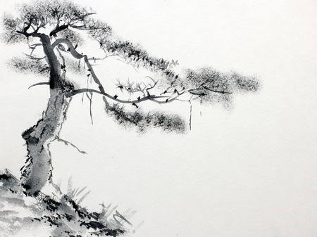 pintura abstracta: Lone Pine en una ladera de la monta�a