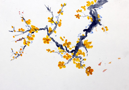 Bloeiende tak van een fruitboom Stockfoto