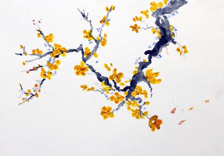 patrones de flores: Floraci�n rama de un �rbol frutal
