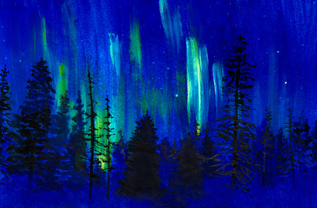 blue twilight and the northern lights photo