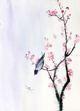 small bird on a branch of sakura Imagens