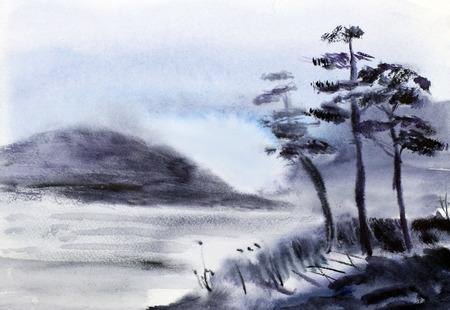 3 つの松水と山