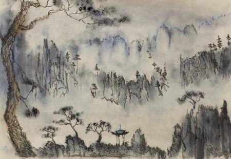 中国絵画の山々 や松 写真素材
